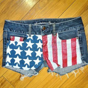 AEO factory distressed stretch denim shorts